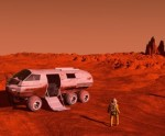 The image of the astronaut and mars rover 3D illustration